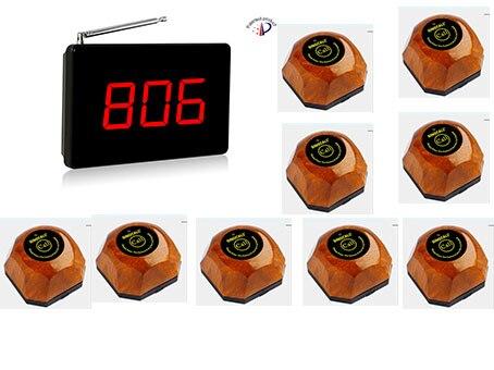 LAIKĀ SPĪDES PIRKŠANA! Bezmaksas piegāde! Bezvadu pakalpojumu izsaukšanas sistēma, 1 ekrāna uztvērējs, 9PCS zvanu pogas