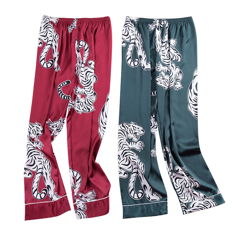 Men Sleep Bottoms 2019 New Fashion Simulation Tiger Printing Silk Lingerie Men Animal Print Long Sleep Pants