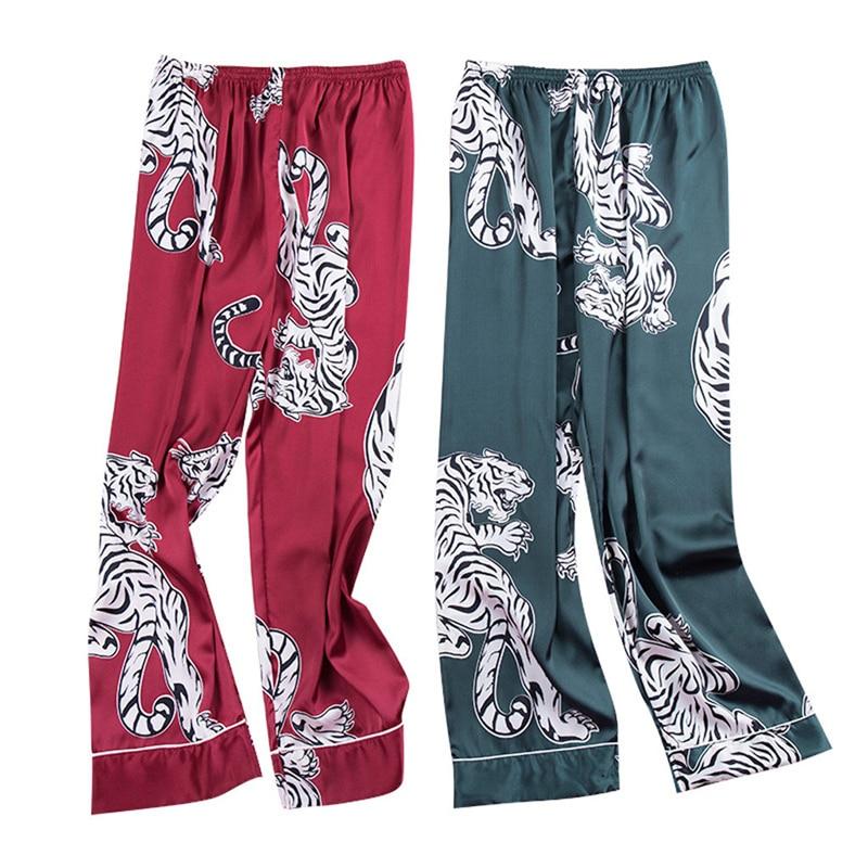 Men Sleep Bottoms 2019 New Fashion Simulation Tiger Printing Silk Lingerie Men Animal Print Long Sleep Pants