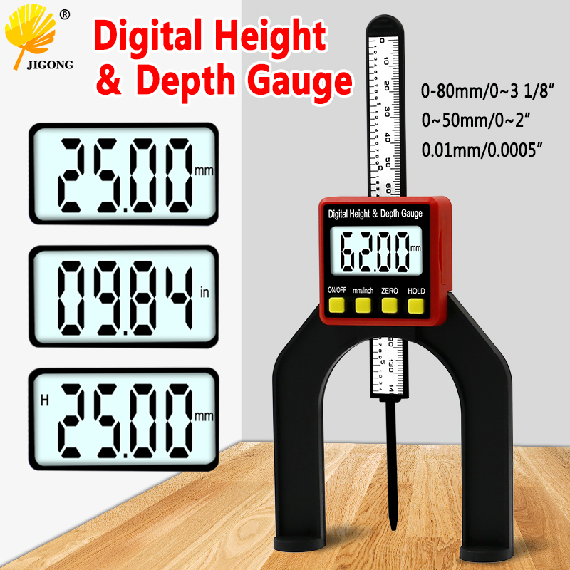 Digital Depth Gauge LCD Height Gauges Calipers With Magnetic Feet For Router Tables Woodworking Measuring Tools