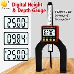 Medidor digital de altura, medidor de altura lcd com pés magnéticos para mesas roteadoras, ferramentas de medição de carpintaria