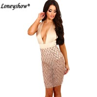 Loneyshow 2017 Sexy Dresses Party Night Club Halter Bodycon Dress Deep V Neck Transparency Mesh Sequins