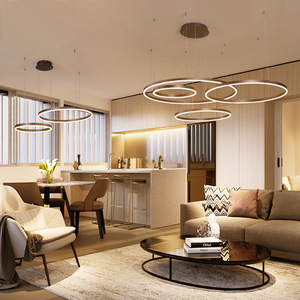 Image 4 - LukLoy Post Modern Rings Loft Chandelier Hotel Suspension Lamp Light Gold Bronze Living Room O Shape Ring Lamp