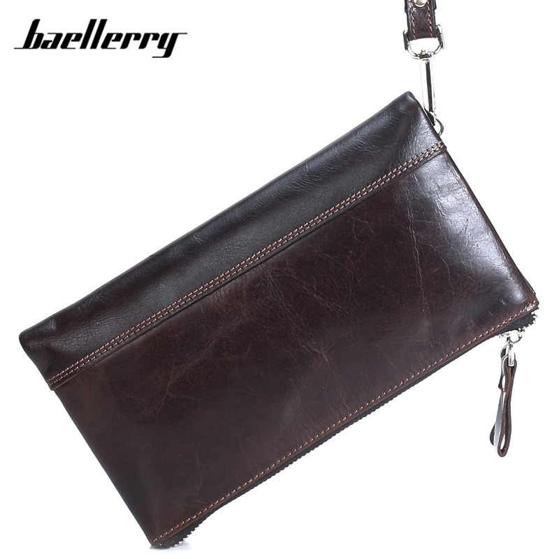 Double Zipper Wallets Men Dollar Price Male Cluth High Quality Oil Wax Genuine Leather Wallet Card Holder Long Purse Handy Bag
