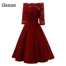 Genuo Women Autumn Lace Party Dress Off The Shoulder Vintage Swing Dresses Elegant Solid Red Midi Party Dress Vestidos Mujer цена 2017