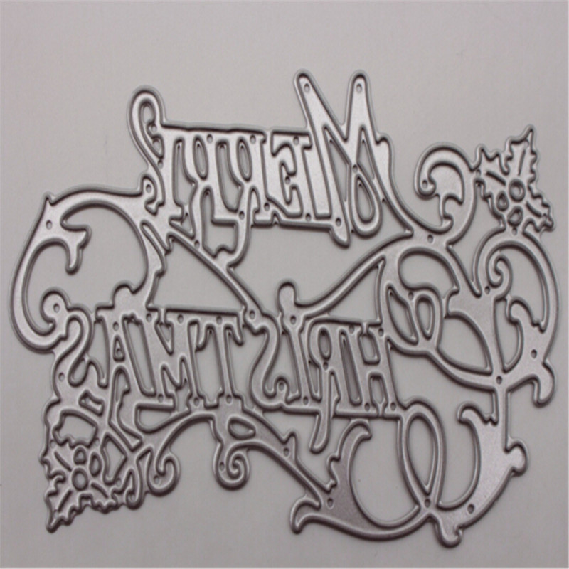 Christmas English Metal Die Cutting Scrapbooking Embossing Dies Cut Stencils Decorative Cards DIY album Card Paper Card Maker m word hollow box metal die cutting scrapbooking embossing dies cut stencils decorative cards diy album card paper card maker