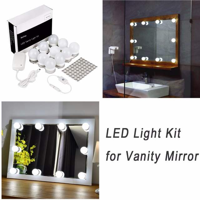 Hollywood Led Vanity Mirror Lights Kit For Makeup Dressing Table Set Plug In Lighting Fixture Strip With Dimmer And Supply