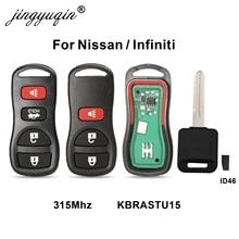 Chave remota automotiva, 315mhz, 3/4 botões, entrada sem chave, para infiniti/nissan frontier murano, braada pathfinder, versa altima maxima xterra