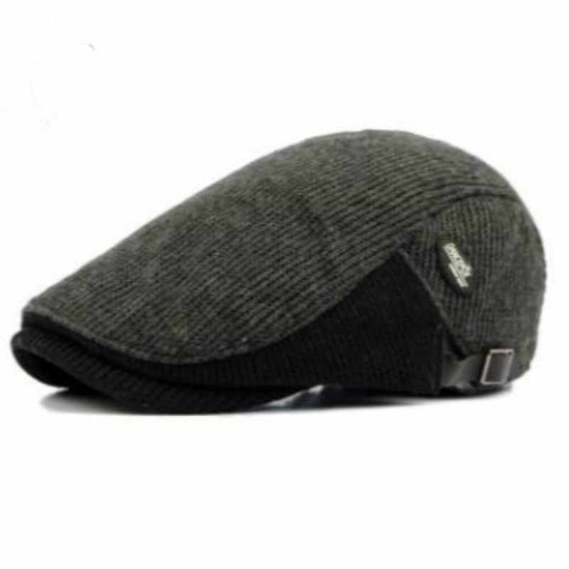 110262a312d ... which in shower patchwork knitted beret hat old men thick warm winter  hat flat duckbill cap ...