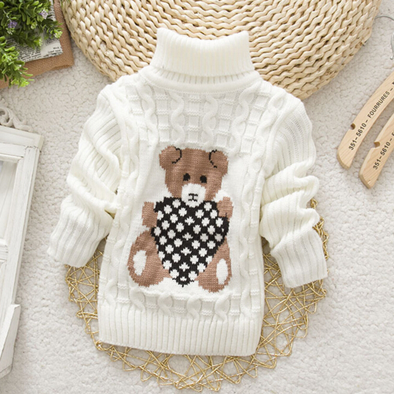 Baby Girls Boys jumper Autumn Winter Cartoon Sweaters Children Kids Knitted Pullover Warm Outerwear Babi Turtleneck Sweater
