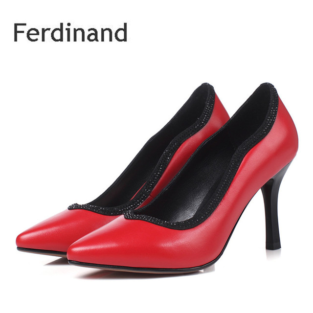 Women Pumps Genuine Leather Shoes Office Mixed Color Red Black Pointed Toe Thin Heel