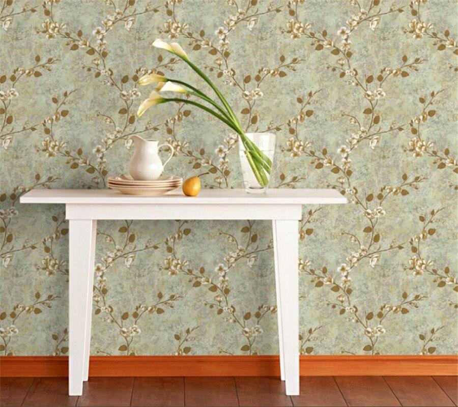 Beibehang rétro rustique feuille fleurs papier peint salon chambre non tissé fond papier peint décor à la maison papel pintado