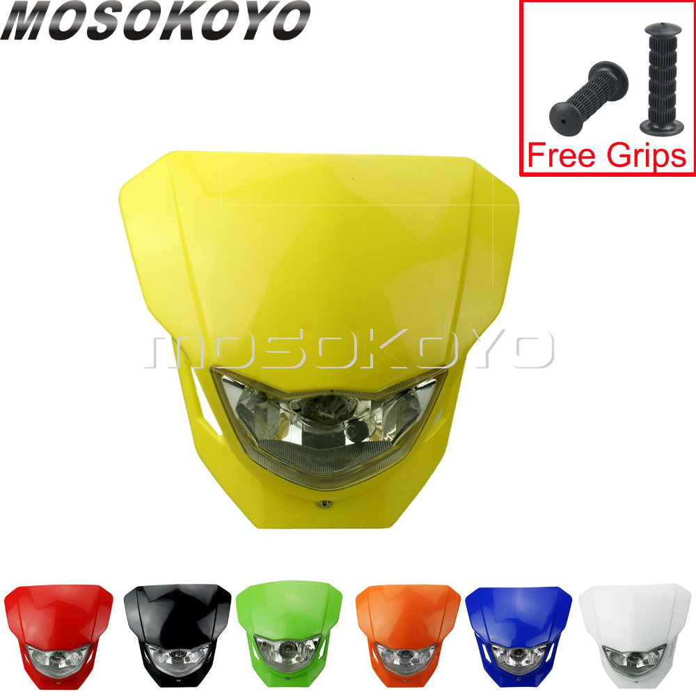 For Suzuki DR650 DRZ400 RM85 RMZ-250 450 DRZ 125 Motocross Headlight Dirt Bike Yellow Head Lamp Front Mask Universal