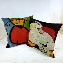 Retro Linen Cheap Cushion Cover Picasso Dream Decorative Sofa Cheap Almofadas Cojines Pillow case