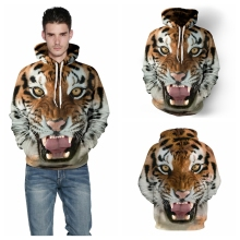 Golden Tiger Print Skateboarding Hoodies Sport Wild Animal Sweatshirt Men Long-Sleeved Pocketed Jumper Sweater Autumn FTQYDM