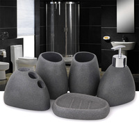 5 Pcs/Set Bathroom Accessories Resin Cobblestone Design Latex Bottle Tooth Glass Soap Toothbrush Holder Home Decoration HTQ99