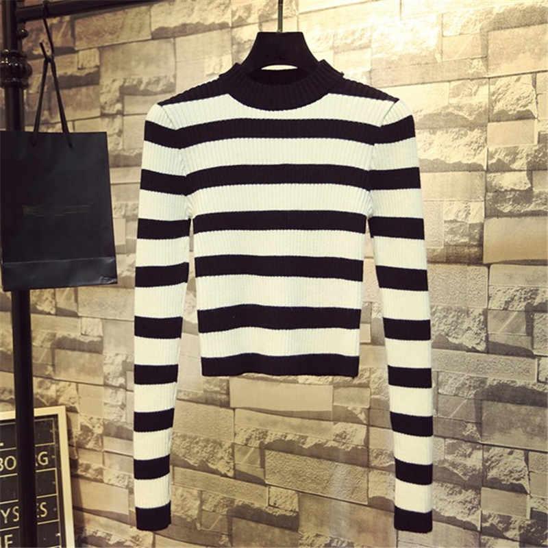 Neploe outono novo coreano feminino camisola meia gola alta magro sueter mujer manga longa listrado de malha curto pullovers 68509