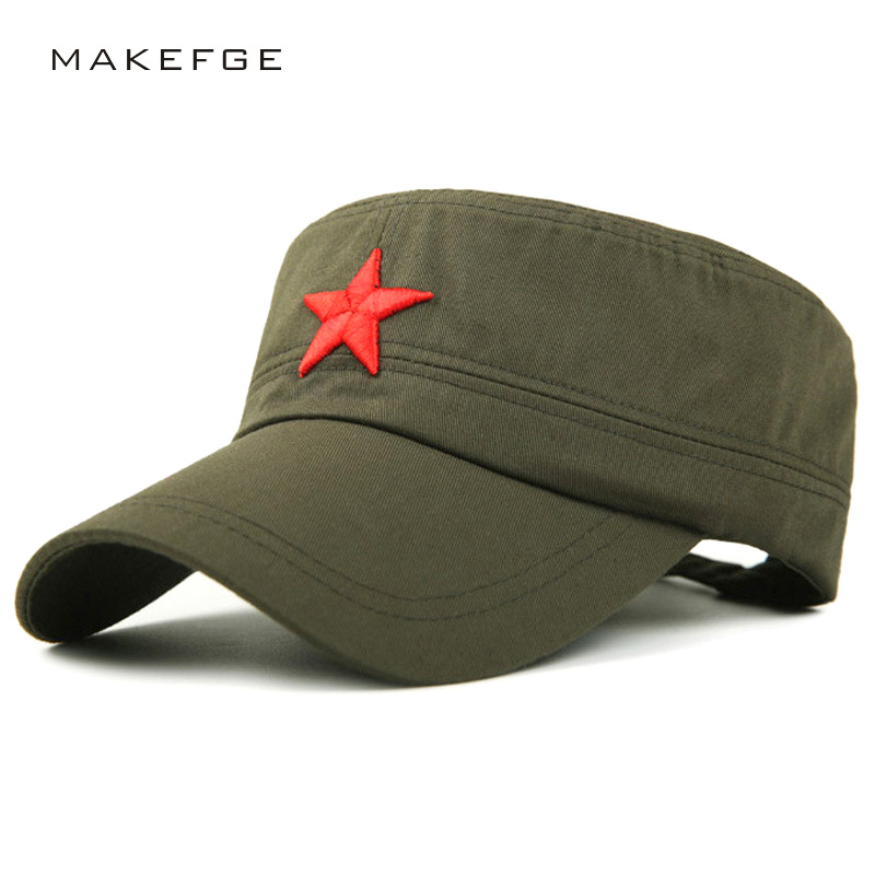 NEW Cotton Military Cap For Men Women Red Star Embroidery Sailor Vintage Hat Men's Flat Camouflage Leisure Summer Captain Cap