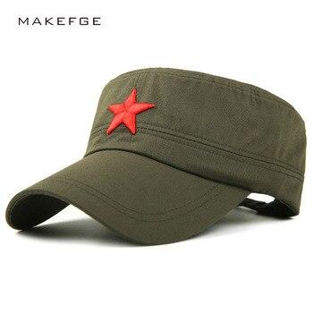 02dafe456a19 Nuevo algodón gorra militar para hombres mujeres bordado Estrella Roja  vintage marinero sombrero plano de los hombres camuflaje ocio verano  capitán ...