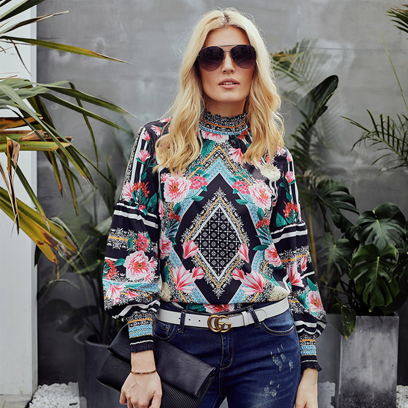 Dear Lover Spring 2019 Black Bohemian Floral Women Blouse Shirts Long Sleeve Smocked Neckline Leopard Print Female Tops