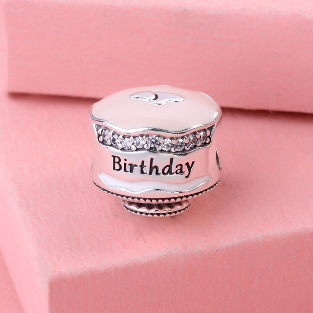 Real 925 Sterling Silver Beads Happy Birthday Cake Charm With Clear