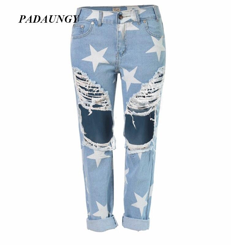 3abb5f73850 PADAUNGY Star Рваные джинсы для Для женщин Свободные Boyfriend vaqueros  отверстия рваные Джеггинсы ботильоны Длина Панталон Жан роковой джинсовые  штаны
