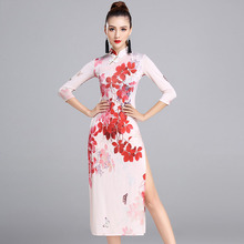 Newest Latin Dance Dress For Ladies Flower Print Long Sleeve Plus Size Slit  Skirt Springy Latino Showing Square Garment MD7100