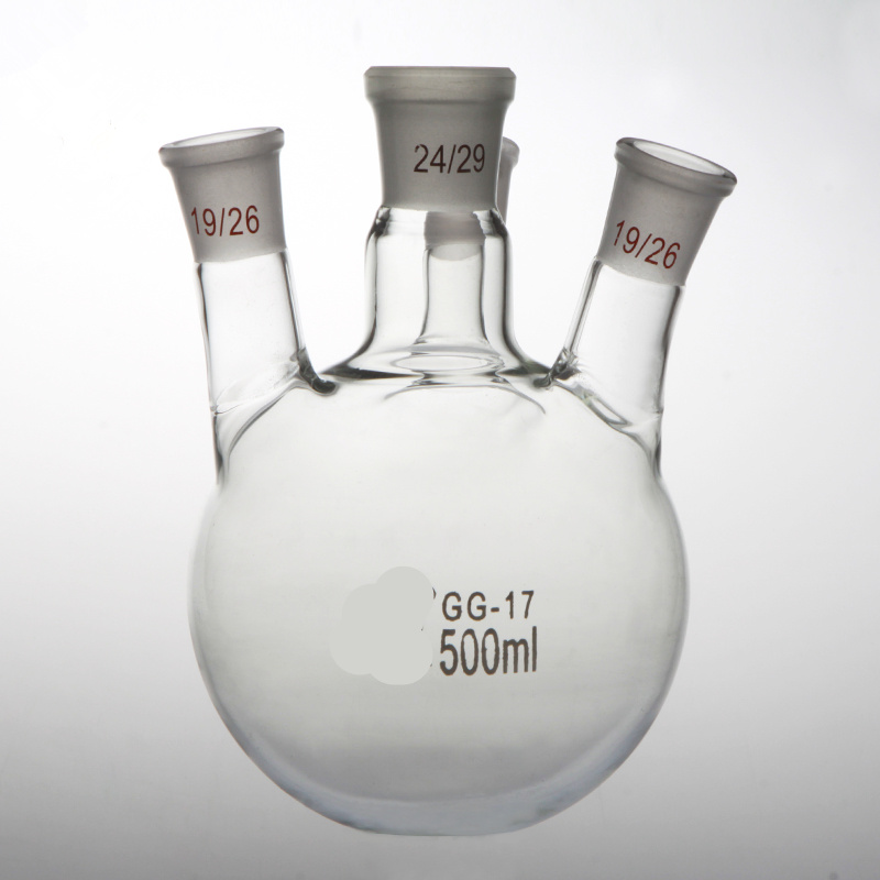 500ml,14/23+24/29+19/26*2,4-neck,Round bottom Glass flask,Lab Boiling Flasks,Four neck laboratory glassware reactor 500ml 40 24 2 joint 3 neck round bottom straight necks flask lab glassware