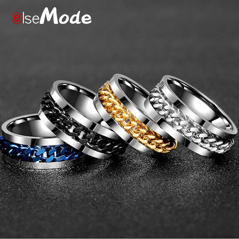 ELSEMODE Punk Rock Men Spinner Ring Titanium Stainless Steel Gold Black Chain Rotable  Rings For Women Accessories Size 6-12(China)