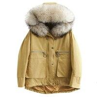 Fashion Big Raccoon Fur Collar Down Coats 90% Duck Down Jacket Woman Hooded Parkas Winter Coat Women Short Coat Parkas YP2119