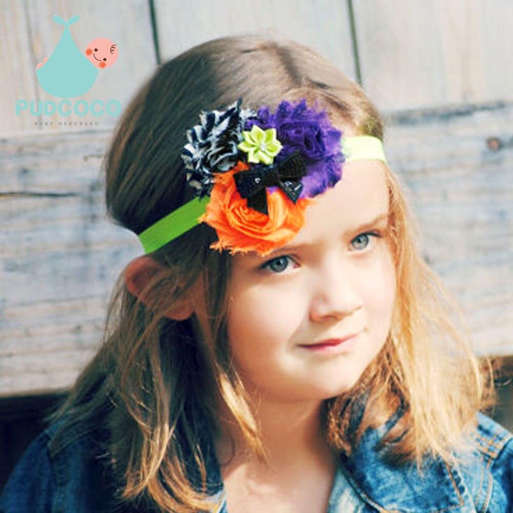 2015 Halloween Baby Flowers Headbands Kids Hair Accessories princess Infant Toddler Children Elastic Rhinestone Headwear H119