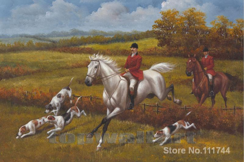 Landscapes painting Hunter on the running horse with Hunting Dogs Heywood Hardy Hunting dogs Hand painted High quality