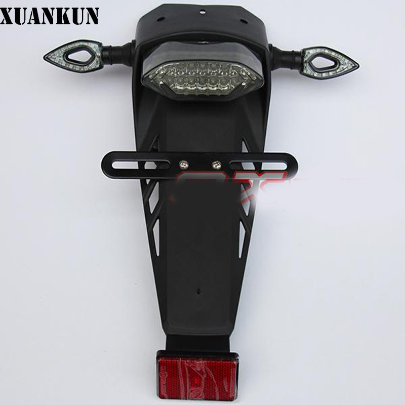 XUANKUN  Off-Road Motorcycle Modified LED Taillights / Turn Lights / Brake Lights License Plate / Tail Lighthouse off road motorcycle parts modified high strength anti fall folding brake handle clutch brake handle
