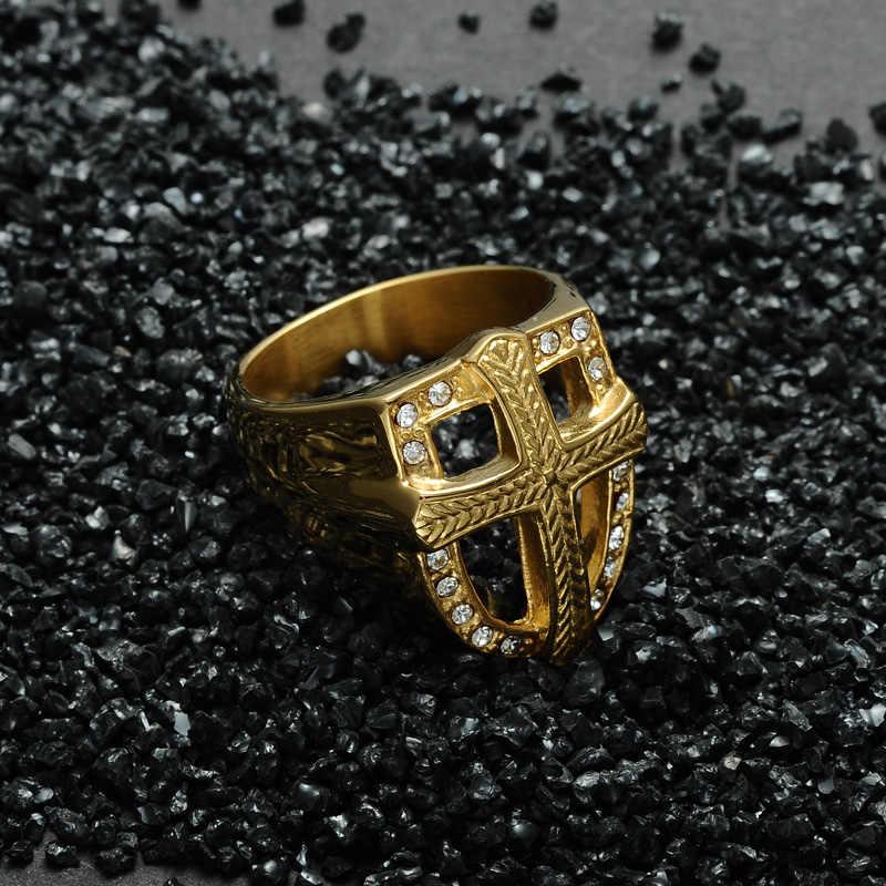 HIP Hop Knights Templar เกราะ Crusader Cross แหวนไทเทเนียมสแตนเลส Iced Out คริสตัล Signet แหวนผู้ชายเครื่องประดับ