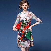 LAUZUOLA 2018 Summer Fashion Elegant Dress New European Style Retro Print Plus Size 2XL Women Half sleeve Silk Chiffon Dresses