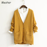 High Quality Women V Neck Thick Cardigan Sweaters Long Sleeve Button Up Side Slit Middle Long Cardigan with Pockets