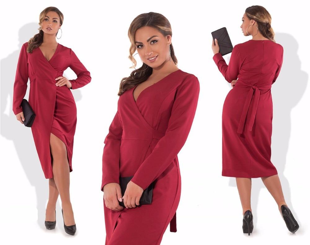 2018 autumn wrap dress long sleeve v-neck sexy women dress 5xl 6xl plus size midi dress bodycon party dress vestido longo