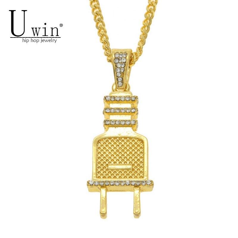 UWIN Männer Hip hop Anhänger Iced Out Bling Strass Kristall Gold Silber Farbe Stecker Anhänger Halskette 24