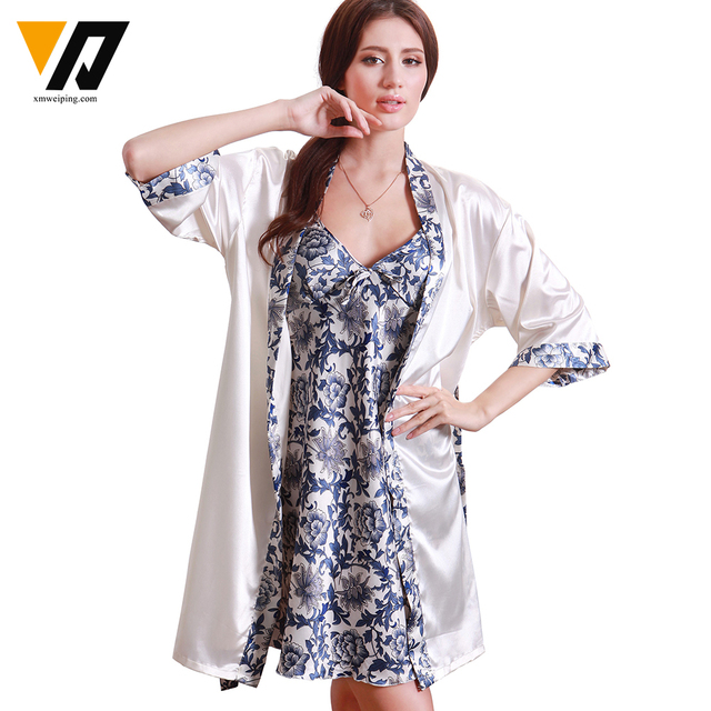 XMWEIPING Luxury Chinese Style Women's Silk Sleepwear Nightgown Robe Sets with Blue and White Porcelain Print 2 Pieces/Set