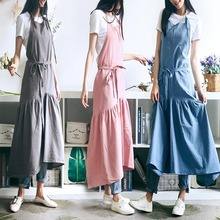 Linen Apron Flower-Shops Work-Cleaning Coffee Cotton Woman Design for And Skirt