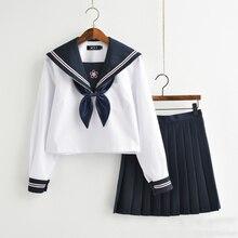 Новое поступление, японские JK наборы, школьная форма, для девочек, Сакура, вышивка, осень, средняя школа, для женщин, новинка, матросские Костюмы униформы XXL
