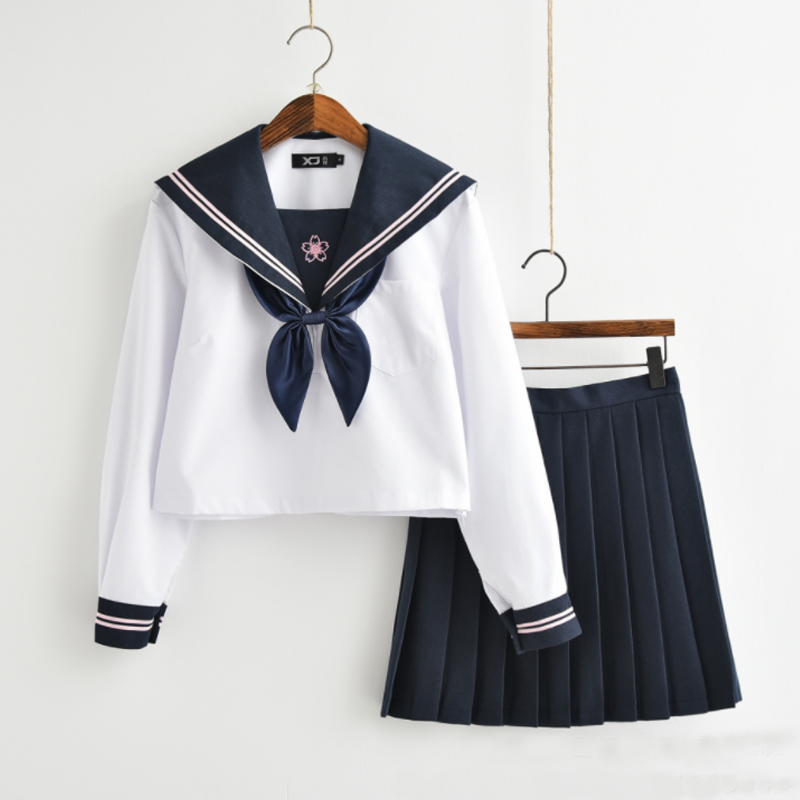 New Arrival Japanese JK Sets School Uniform Girls Sakura Embroideried Autumn High School Women Novelty Sailor Suits Uniforms XXL
