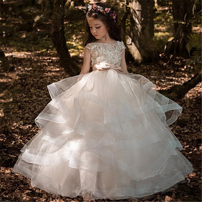 Customize Size Trailing Flower Girl Princess Dress Host Birthday Show Piano Dress Female Model Catwalk Dress marfoli girl princess dress birthday