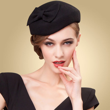 Black Classic Wool Pillbox Hat Women Lady Vintage Bowknot Woolen Felt Cocktail Party Wedding Top Hat Clip Dress Headwear