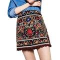 2016 Женщины Vingate Цветочные Вышивка Юбки Мода Кружевные Мини-Юбка Высокой Талией Линии Молнии Slim Fit Юбки Saias Femininas