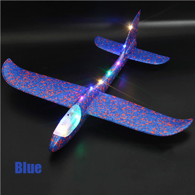 48cm LED Light-up Toys Aircraft Kids DIY Hand Throw Flying Glider Plane Glow In The Dark Toys For Children Foam Airplane Model G