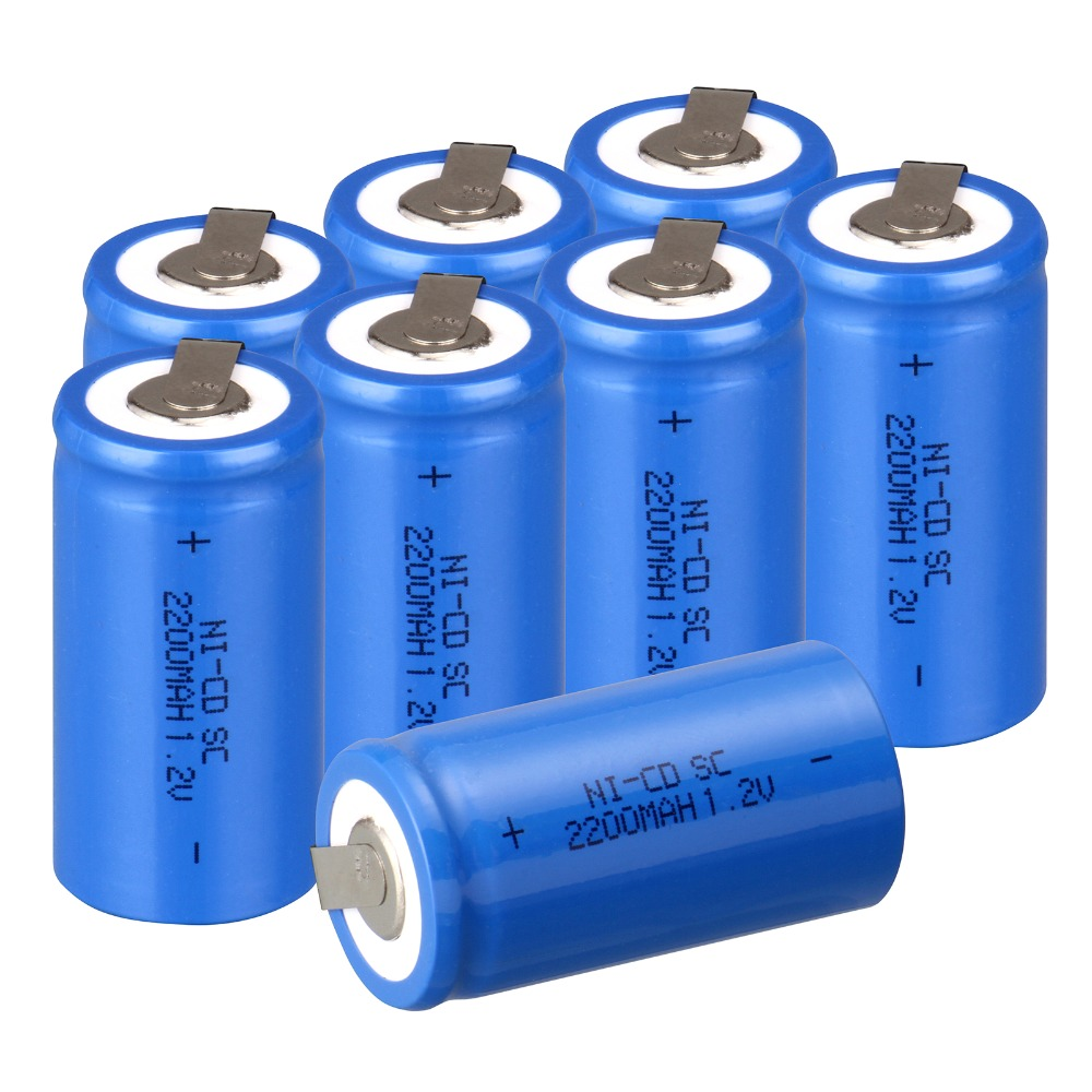 High quality !7 PCS Sub C SC battery rechargeable battery 1.2V 2200mAh Ni-Cd Ni-Cd Battery Blue Batteries -4.25*2.2cm