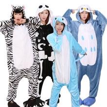 Купить с кэшбэком New Adult Flannel Animal Pajamas Set Women Men Unicorn Stitch Pegasus Pyjamas Cosplay Onesie Winter Soft Hooded Sleepwear Hooded