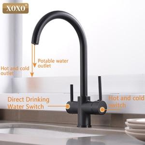 Image 4 - XOXO מסנן מטבח ברז שתיית מים כרום סיפון רכוב מיקסר ברז 360 סיבוב טהור מים מסנן מטבח כיורים ברזי 81038