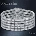 Angel Girl AAA+ Elegant Square 4mm CZ Diamond Tennis Bracelets for Woman Platinum Plated Princess Cut CZ Wedding Jewelry 5pieces